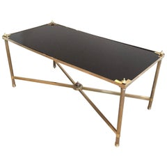 1940s Jansen Brass and Black Lacquered Glass Coffee Table