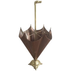 French Brass Umbrella Stand with Dog Handle