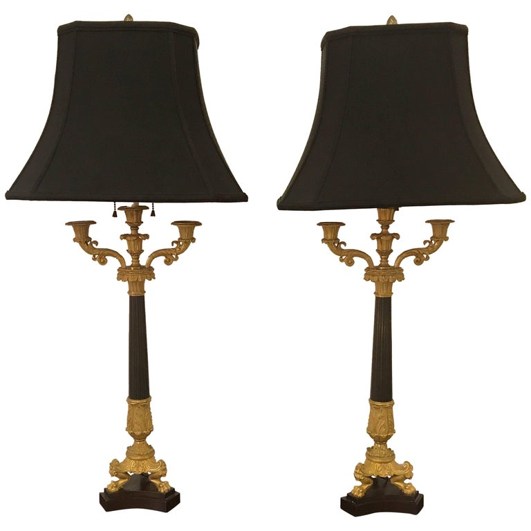 19th Century Pair of Charles X Ormolu and Bronze Candelabra Lamps