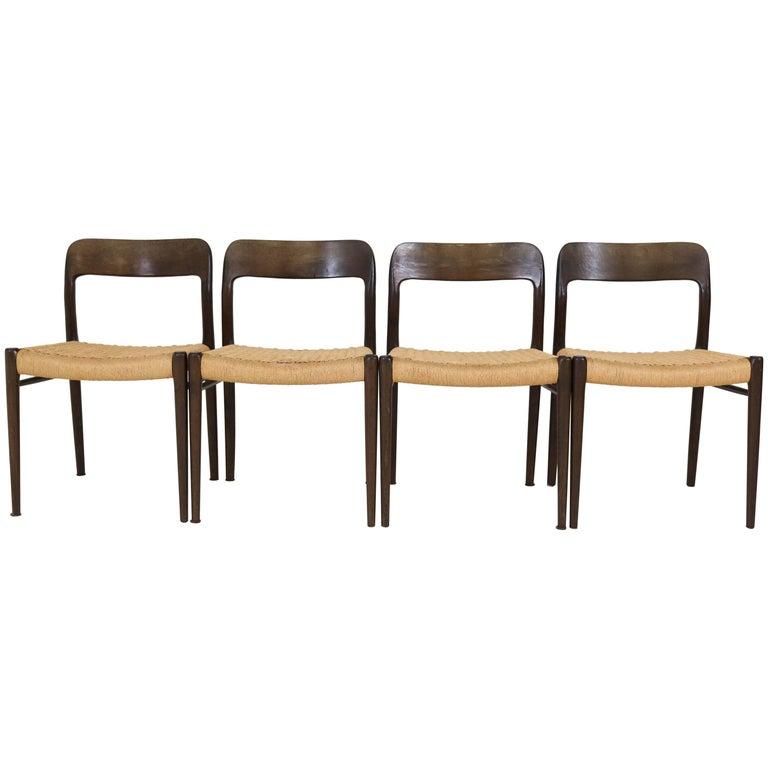 Set of Four Wenge Model 75 Chairs by Niels O. Møller for J.L.Møller, 1960s