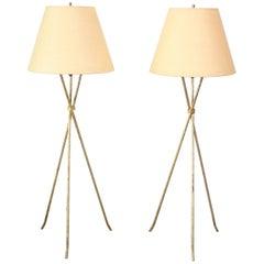 Pair of Midcentury Italian Modern Gilded Tripod Floor Lamps
