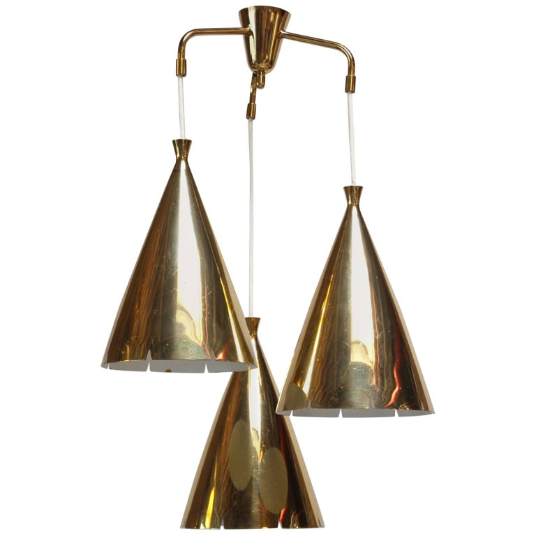 Mid-Century Three Pendant Solid Brass Chandelier after Paavo Tynell