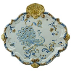 Emile Galle Faience Heraldic Peacock Platter, circa 1890