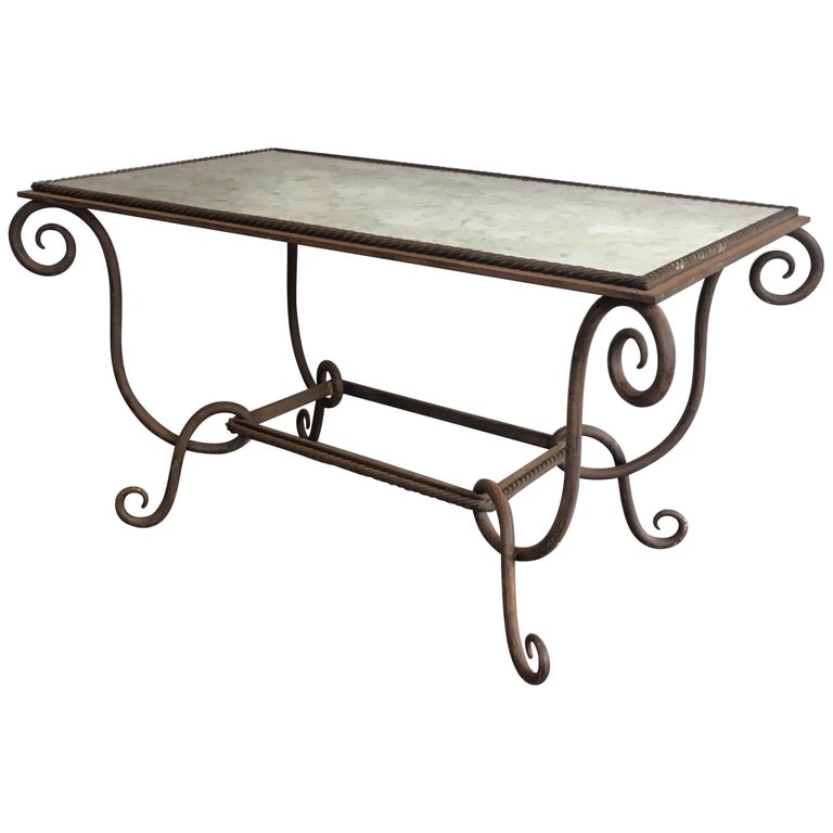 1940s French Iron And Antique Mirror Coffee Table By Ren Prou For Sale At 1stdibs
