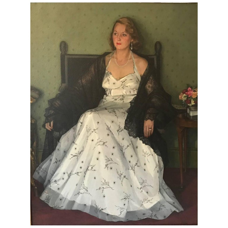 """Edwin Greenman, Royal Society of Portrait artists, Oil on Canvas """"Mrs Franks"""" For Sale"""