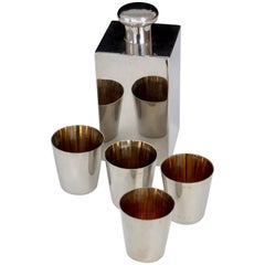 Silver Plate Flask with Four Shot or Sipping Cups Made in Germany
