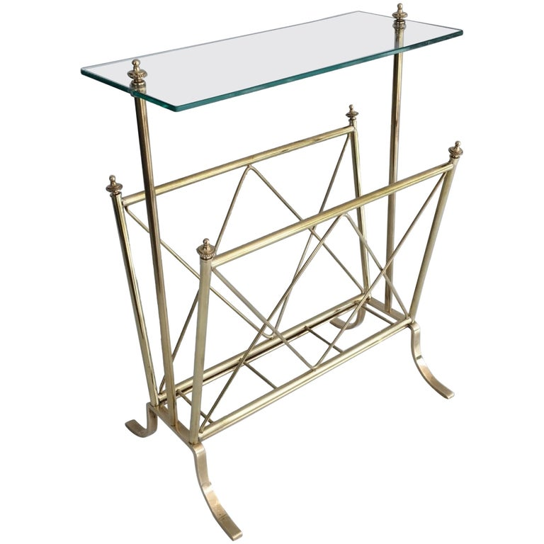 1940s French Brass and Glass Magazine Rack, Attributed to Maison Jansen For Sale