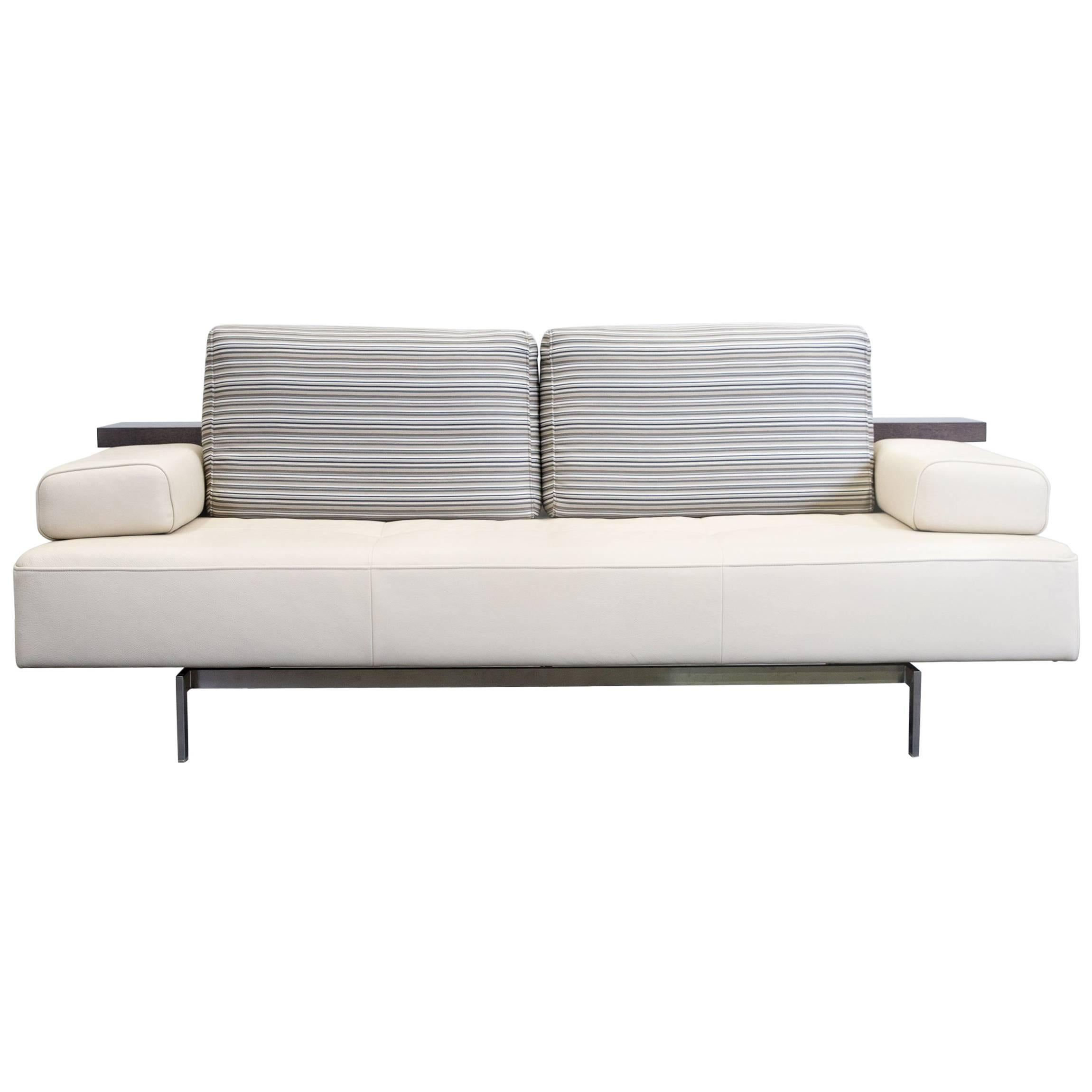 Rolf Benz Dono Designer Three Seat Leather Sofa, Crème Beige At 1stdibs