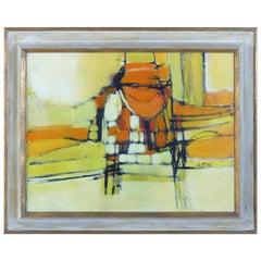 Mid-Century Modern Abstract Oil Painting Signed Ferrari