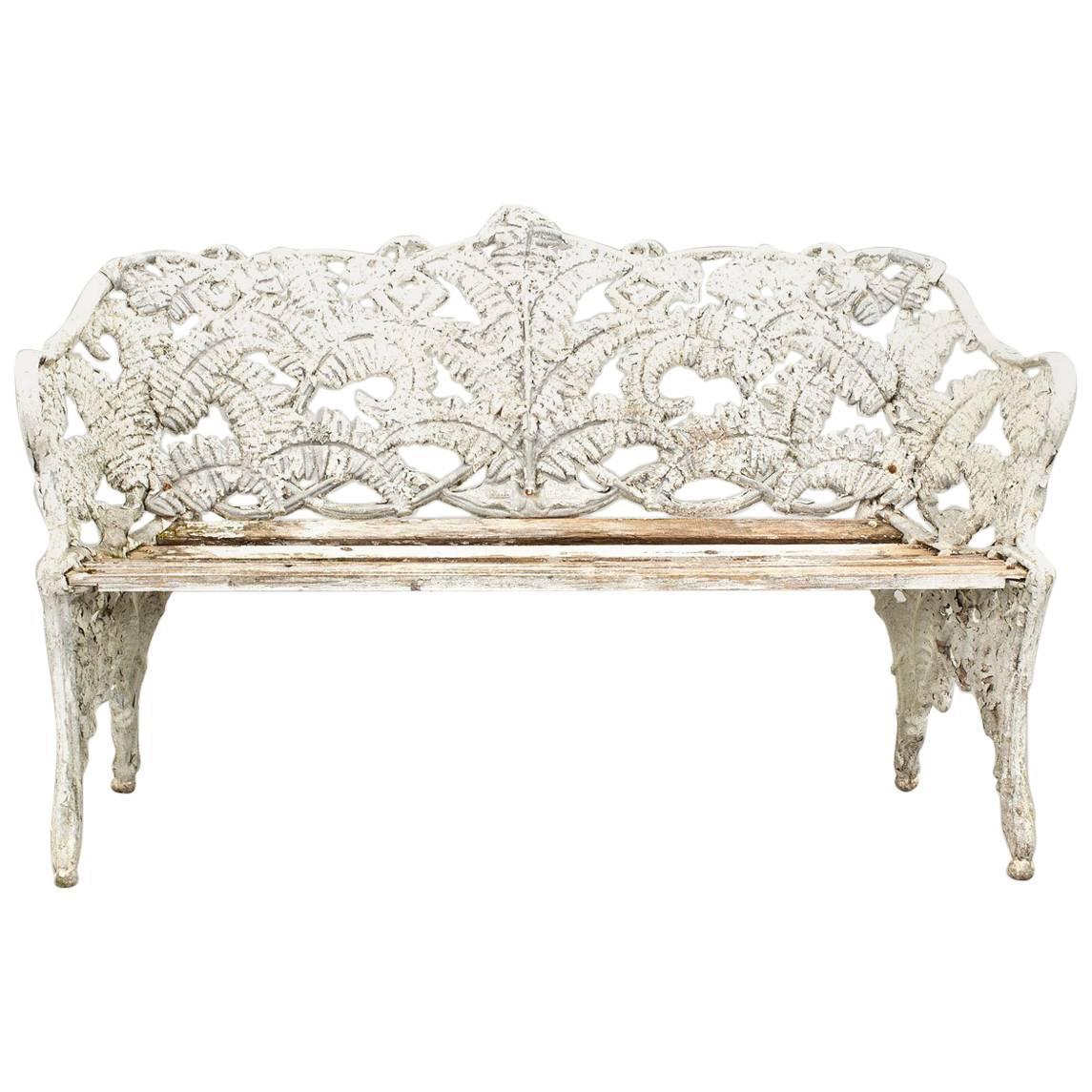 Exceptional Iron Bench Art Nouveau White, Sweden For Sale