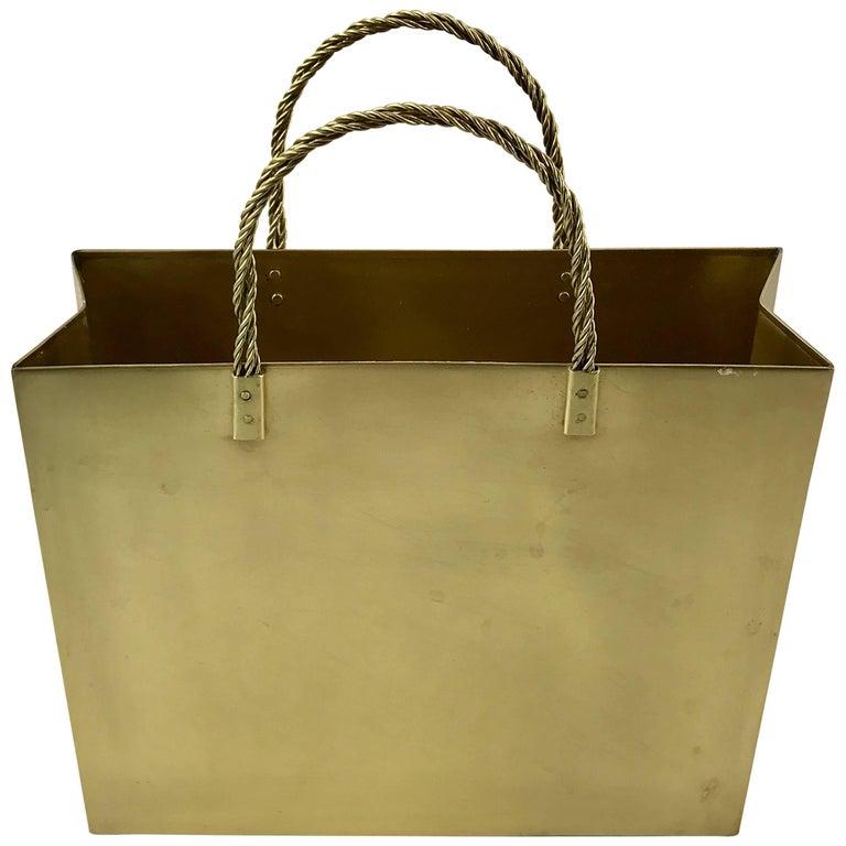 Italian Midcentury Medium Brass Shopping Bag in the Manner of Gio Ponti