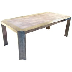 Karl Springer Shagreen and Gunmetal Dining Table