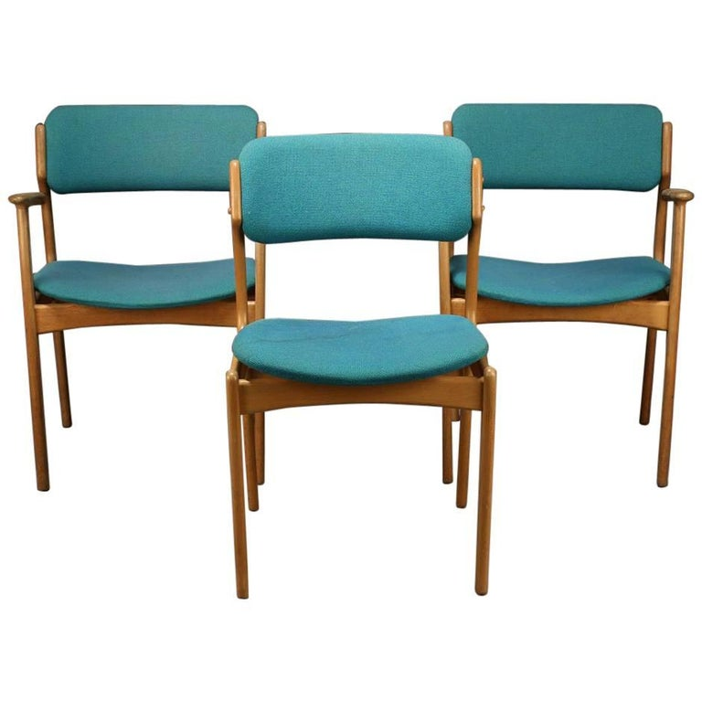 Danish Chairs by Erik Buch, Oat, 1950s