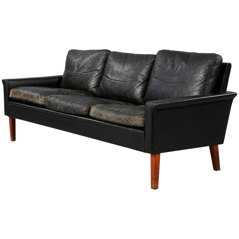 Black Leather Tellus Sofa by Folke Jansson, Sweden, 1950s