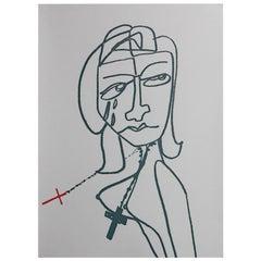 Contemporary drawing Cruz by Gabriela Valenzuela-Hirsch