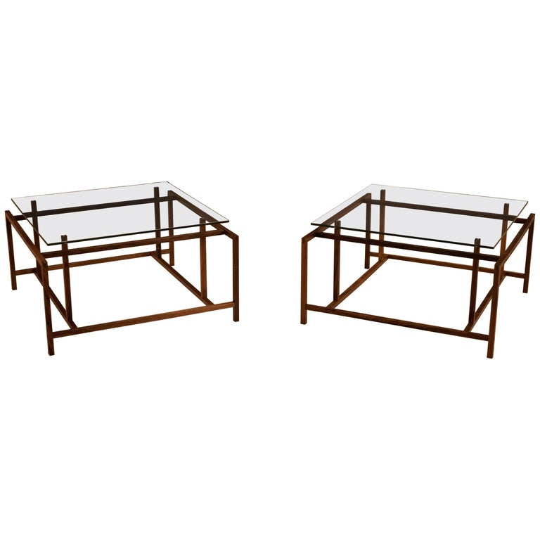 Midcentury Rosewood and Glass Side Tables by Henning Norgaard