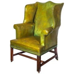 18th Century English Georgian Chippendale Green Leather Library Wing Armchair