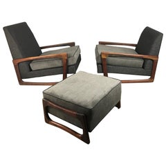 Stunning Classic Modernist Sculptural Lounge Chairs and Ottoman Adrian Pearsall