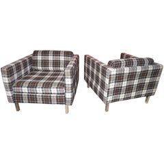 Handsome Pair of Milo Baughman Style Plaid Chrome Cube Lounge Chairs