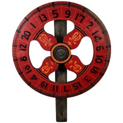 1920s Antique Double-Sided Hand-Painted Game/Carnival Wheel, New York