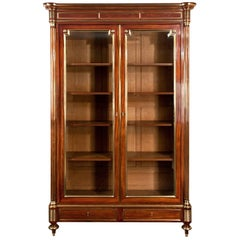 Fine Quality Grand Parisian French Mahogany and Brass Bookcase or Vitrine