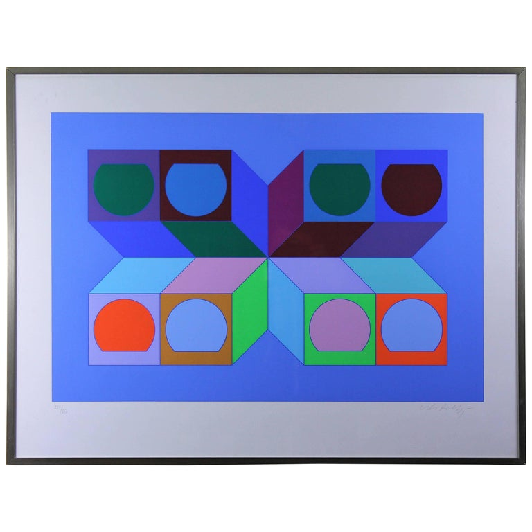 Vasarely Victor, Serie Cube Serigraphy 1974, Signed and Numbered