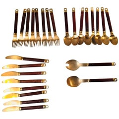 Danish Mid-Century Brass & Teak Cutlery Set by Carl Cohr, Set of 26 Pieces