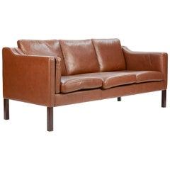 Borge Mogensen Sofa Model 2213 for Fredericia of Denmark in Brown Leather