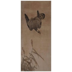 Japanese Painting, Framed Panel, 17th Century Falcon by Mitani Toshuku