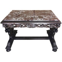 Italian Figural Carved Walnut Marble-Top Table, from the Breakers, Palm Beach FL