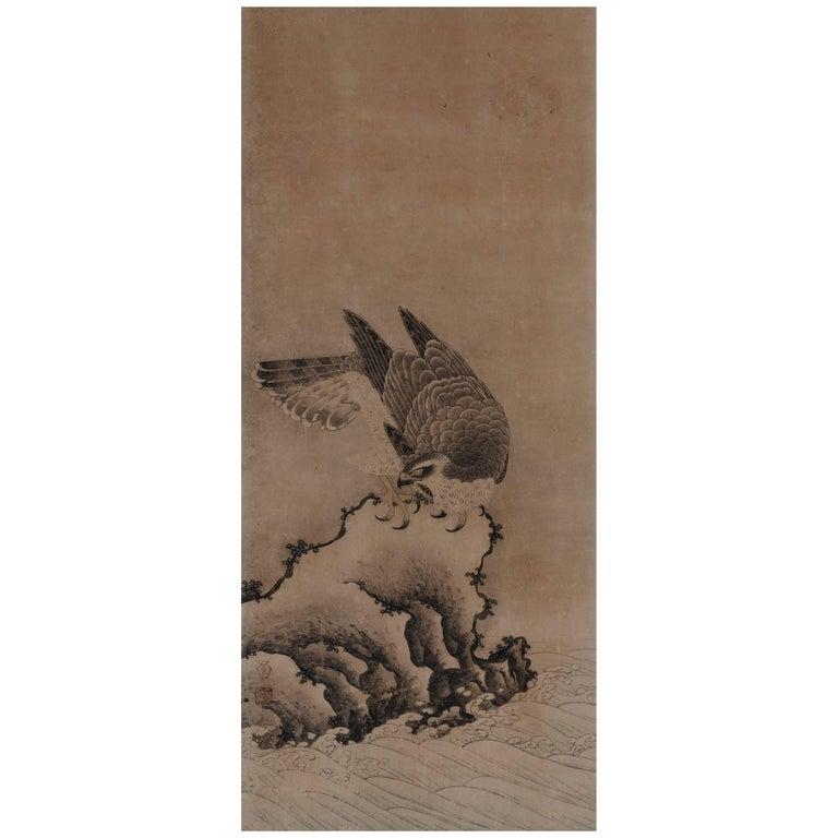17th century Japanese Falcon Painting, Mitani Toshuku, Unkoku School For Sale