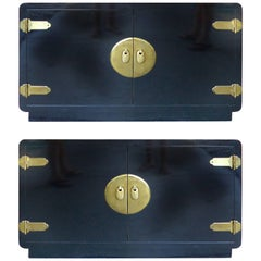 Lacquered Cabinets with Overscale Hardware by Bernhard Rohne for Mastercraft