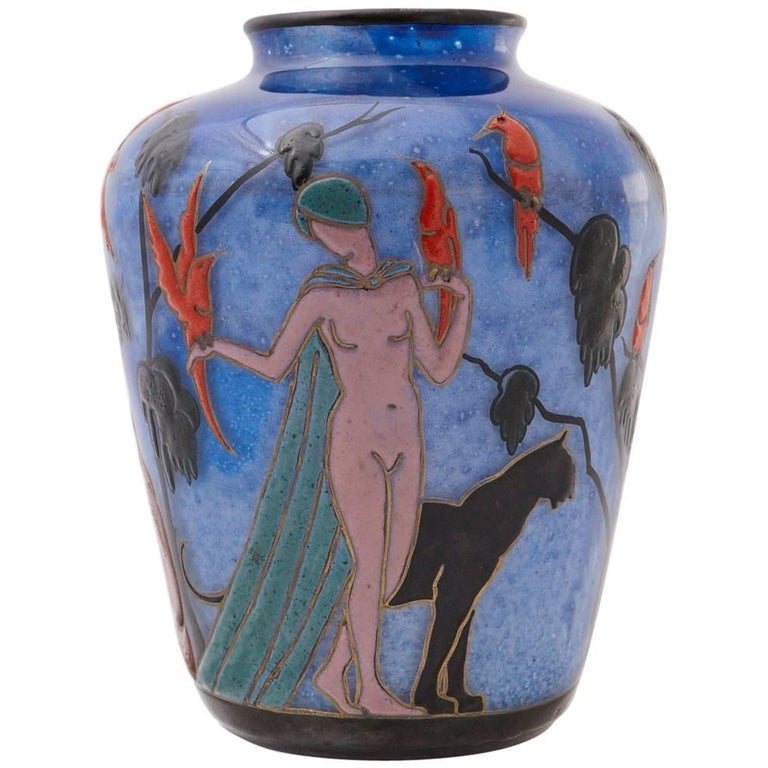 Marcel Goupy Enameled Glass Vase Showing Three Nude Women, circa 1925 For Sale