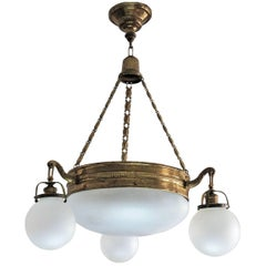 Art Deco Brass and Frosted Glass Four-Light Chandelier in Original Condition