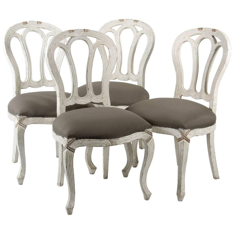 Set of Four Louis XV Style Side Chairs Gustavian Style, 20th Century