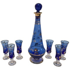 Cobalt Blue Enameled Glass Liquor Set Decanter and Six Glasses from Portugal