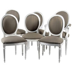 Set of Six 19th Century French Louis XVI Style Dining Chairs Gustavian Style