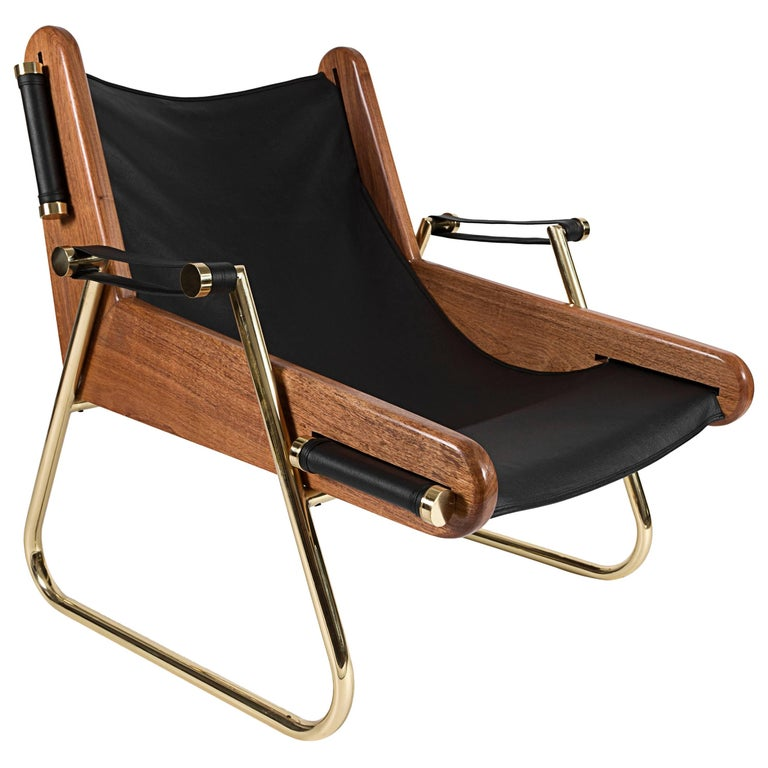 GRAPPA Contemporary Leather Lounge Chair with Walnut Panels and Brass Piping For Sale