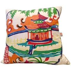 "21st Century Contemporary Belgium Linen Printed ""Pagoda"" Pillow"