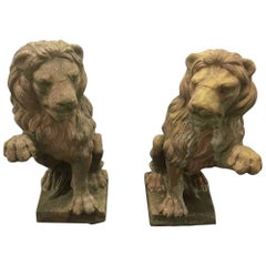 Pair of Opposing Stone Garden Lions