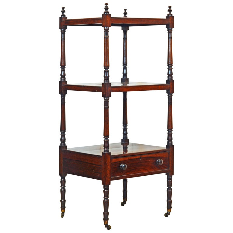 Attractive 19th Century English Rosewood Three-Tier and One Drawer Étagère 1