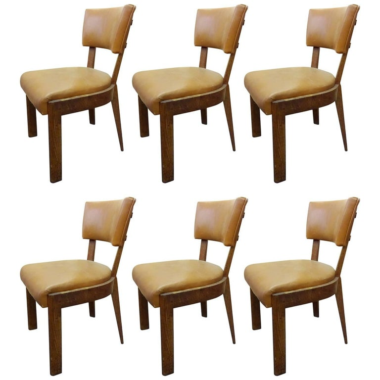 Set of Six Dudouyt Leather Dining Chairs