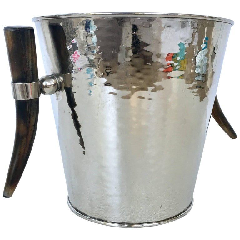 Contemporary & Modern Hammered Silver Plate and Horn Handle Champagne Ice Bucket