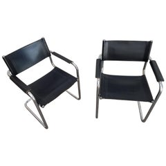 Mart Stam Leather and Chrome Cantilevered Chairs