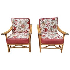 Pair of Bamboo Lounge Chairs