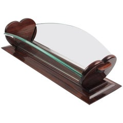 Art Deco Rosewood and Glass Long Centerpiece Bowl Decorative Basket