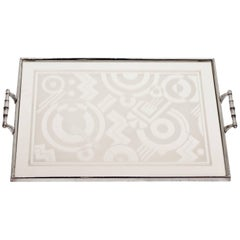 Art Deco Tray with Stunning Geometric Glass