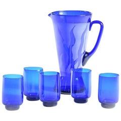 Blue Bohemian Glass Pitcher and Five Glasses, Czech Republic, circa 1960