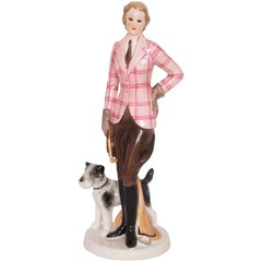 Art Deco Figure of a Riding Girl and Her Dog