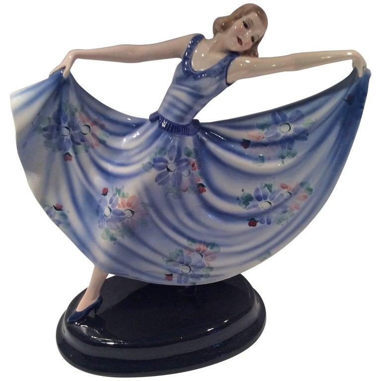 Art Deco Goldscheider Figure of a Dancing Girl For Sale